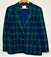 Vintage Pendleton Womens Wool Blazer L Green Blue Plaid Tartan Coat Jacket