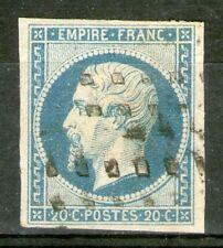 """FRANCE:  n°14Af (bleu laiteux) oblitéré """"gros points""""  (cote 70€+)"""
