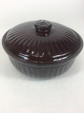 "Vintage Brown Glazed Ribbed  Stoneware Bean Pot with Lid 9"" X 3"" Stamped Usa"