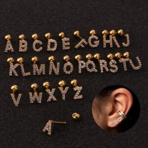 26 Letter Zircon Tragus Cartilage Helix Alphabet Stud Earring Piercing Jewellery