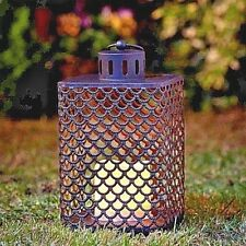 Moroccan Style Candle LED Lantern Rustic Outdoor Garden Light Square Lamp