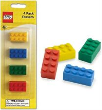 Lego Brick Erasers Kids [4 Pack] Party Favor Blister Yellow Blue Green Red