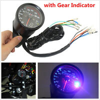 Motorcycle Dual Odometer Speedometer Digital Gear Gauge KMH LED Backlight Signal