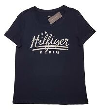 WOMEN'S TOMMY HILFIGER DENIM THD SCRIPT RELAXED FIT T-SHIRT TEE NAVY WHITE S