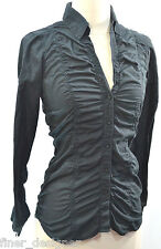 Ali & Kris shirt Sexy Black Button shabby gathered pucker blouse Top tab S S NEW