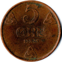 COIN / NORWAY / 5 ORE 1928  #WT1725