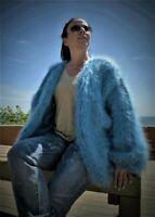 Blue  HandKnitted  Mohair Fuzzy Bernadette Coat  Sweater  by LanaKnittings