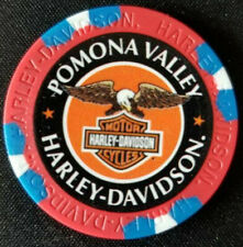 POMONA VALLEY HD~ 25th Ann ~CA~ (Red/Blue) ~ Harley WIDE PRINT Poker Chip