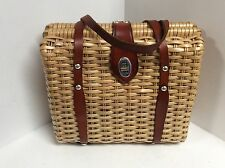 Ladies vintage handbag box coated straw leather trim H44