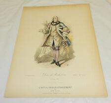 1860 Antique COLOR Print/DUKE OF RICHELIEU,King Louis 15 Period Costume/Clothing
