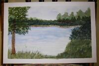 VINTAGE FOLK ART PRIMITIVE PLEIN AIR  RIVER TREES LANDSCAPE GRASS W/C PAINTING