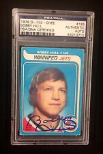 BOBBY HULL SIGNED O-PEE-CHEE 1979 CARD #185 PSA/DNA Auto BLACKHAWKS JETS