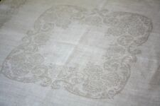 "Vintage Set Of 6 Damask Linen Table Napkins ~ 17"" Sq. Chrysanthemums / Acanthus"