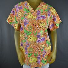 Cat Kitty Multi-Color Colorful Scrub Top Uniform Nurse Lady Bug Floral Spring D4