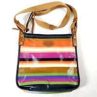 Fossil Rainbow Striped Crossbody Bag Purse Adjustable Strap Coated Canvas