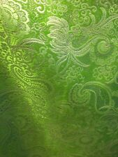 APPLE GREEN SILVER METALLIC PAISLEY BROCADE FABRIC (60 in.) Sold By The Yard
