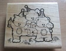 Stamp Oasis ~ 1045-I Party Trio Dancing Bear Cat Dog ~ J6