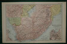 1905 ANTIQUE MAP ~ SOUTH AFRICA ~ CAPE COLONY CAPE TOWN TRANSVAAL ZULULAND