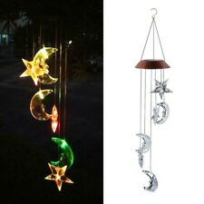 LED Solar Powered Star & Moon Wind Chimes Light Home Garden Hanging Lamp Decor