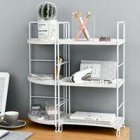 Three Layers Shelf Bathroom Rack Kitchen Desktop Storage Metal Bookshelf Holder