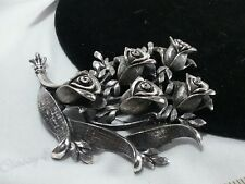 Vintage Silver Tortolani Huge Rose Floral Bouquet Garden Party Brooch Pin in 3D
