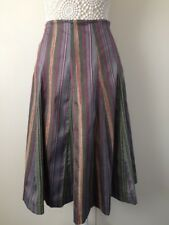 Ladies M&S Petite Flared Plum Mix Striped Skirt - Size 8