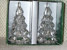 BEAUTIFUL WILLIAMS SONOMA 2 CHRISTMAS TREE GLASS TAPER CANDLE HOLDER New In Box