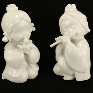 2 White Porcelain Girls Flute/Bird Japanese Traditional Dress Figurine TOYO VTG