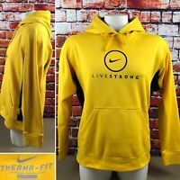 Nike Livestrong Men's Large Hoodie ThermaFit Sweatshirt Yellow Black Pullover 58