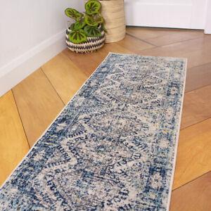 Vintage Navy Hall Runner Rugs Small Large Blue Area Rug Medallion Carpet Runners