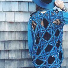 LF carmar Dark blue skull cut out lattice- back chambray shirt NWT sz S