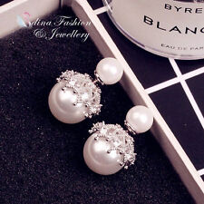 18K White Gold Plated CZ Pearl Stylish Double Faced Stud Earrings 2 Ways Wear