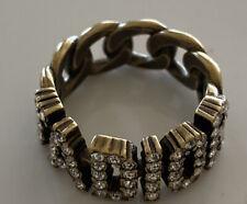 Christian Dior Signed Logo Link Crystal Ring