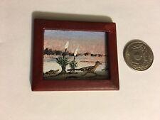 Vintage Miniature Painting canvas Framed Art Roadrunner By P. Vick 1978 Original