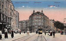 Chemnitz Sachsen Johannisstrasse, Poststrasse Geschäfte Strassenbahn Postkarte
