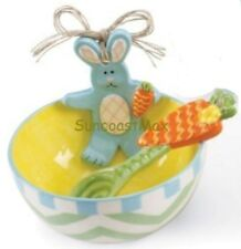 Ceramic Bunny Rabbit in Egg Easter Treat Bowl with Scoop (Spoon) Mud Pie New