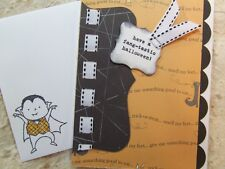 Handmade HALLOWEEN Card Using Stampin Up!  FANG-TASTIC Top Note Ribbon Scalloped