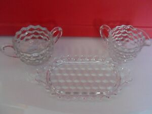 Vintage Clear Glass Sugar Creamer & Tray 3pc set Fostoria