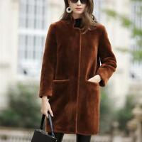 Damen Lammfell Lang Jacke Faux-Pelzmantel Warm Parkas Fashion Coat outwear neu
