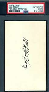 Bill Terry PSA DNA Coa Autograph Hand Signed 3x5 Index Card