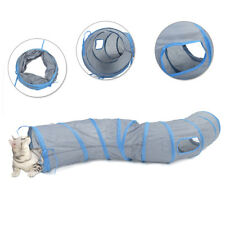Pet Kitten Cat Play Tunnel S Shape Collapsible Crinkle Rabbit Funny Toy 3 Colors Grey