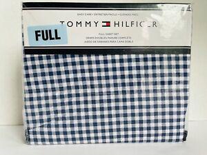 Tommy Hilfiger Full Sheet Set Bedding Navy Blue & White Check Gingham Plaid NEW