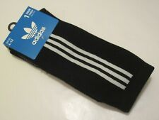 adidas Three Stripes Cushioned Crew Socks BLACK / WHITE OS (6-12) NEW! CJ3871
