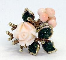 Vintage coral floral enamel ring 14K yellow gold angel skin bouquet rose 9.2 GM!