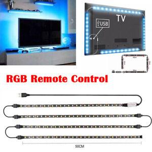 USB TV Back Light RGB Backlight LED Lights 4 Strips Background with Remote 5V UK