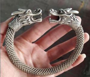 Chinese Tibet Silver Bangle Carved Dragon Head Men A Bracelet