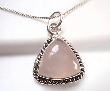 Rose Quartz Triangular 925 Sterling Silver Pendant with Rope Style Accents