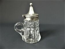 More details for victorian cut glass & silver plate lidded  condiment pot