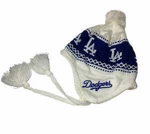 MLB Genuine LA Dodgers Women's Hat Cap Beanie With Ear flaps With Poms