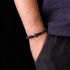 8mm Black Lava Stone Cross Bead Charm Men Women Healing Lucky Charm Bracelets